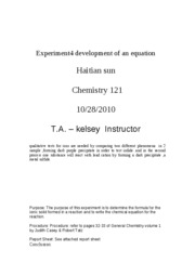 Experiment4 development of an equation