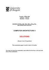 Answers for Computer Architecture Degree Examination 2009 (Solutions)