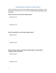 Grading Sample Argument Analysis Papers(1)