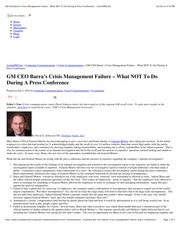 GM CEO Barra's Crisis Management Failure – What NOT To Do During A Press Conference - CommPRO.biz