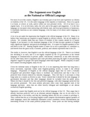 Notes - Week 6 - The Argument over English as the National or Offical Language