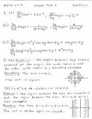 Sample Test 3 Solutions