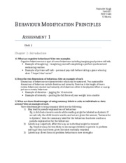 Behaviour Modification Principles Assignment 1