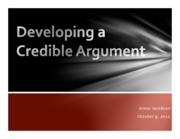 Lecture #5 - Developing a Credible Argument