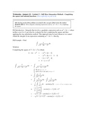 Lecture 5 (Completing the Square)