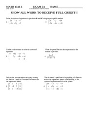 MATH 1513-3 Exam 5A Sprng 2007
