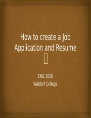 How to create a Job Application and Resume