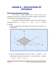 LESSON 8 - APPLICATION OF INTEGRALS