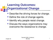 Chapter 20 - Organizational Change