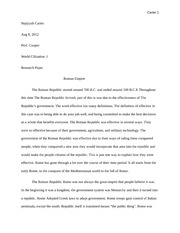 HST 101  Research Paper Roman Empire