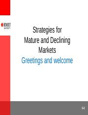 Strategies for Mature Markets(1)