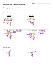 4.06 Completed Notes-Polynomial Long Division