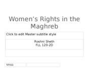 Women's Rights in the Maghreb