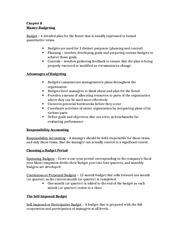 Accounting II Chapter 8-2 (Master Budgeting) Study Notes