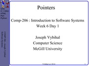 COMP 206 Lecture Week 6 Day 1 - C Pointers