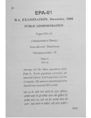 (www.entrance-exam.net)-VMOU B.A in Public Administration Administrative Theory (EPA-01) Sample Pape