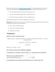 FIFO,LIFO, Weighted Average - Exercise-3(FIFO LIFO and ...