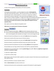 Molecule Polarity Phet Lab Worksheet Answers ...