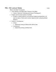 REL 150 Lecture Notes