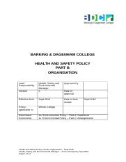 Health and Safety Policy Part B
