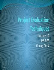 10 Project Evaluation Techniques-MSREE_Lec 10_2014