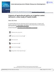 Impacts of agricultural policy on irrigation water demand a case study of Saudi Arabia