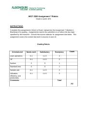 MGT 2320 Assignment 7 Rubric_2015