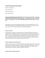 PS 349_Mass Media_Midterm Study Guide