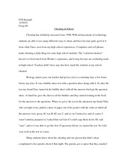 Cheating in school Essay