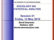 UCR SOC 005 STAT SPR 2010 Session 21 V4