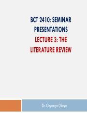 BCT 2410-Lecture 3- Systematic Literature