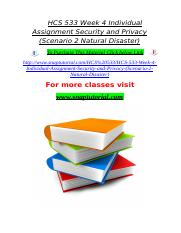 HCS 533 Week 4 Individual Assignment Security and Privacy (Scenario 2 Natural Disaster).doc
