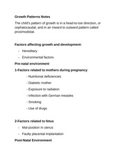 Growth Patterns Notes