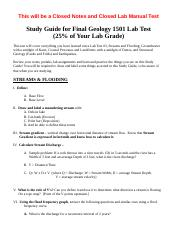 HarrisonGeology 1501 Final Lab Test Study Guide - Fall 2015 (1).doc