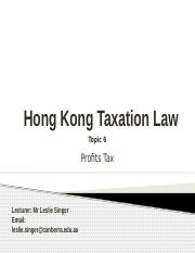 HKBU HKG Taxation Law Term 4 2016 - Topic 6 ProfitsTax