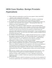 hesi case study on benign prostatic hyperplasia