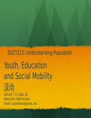 Lecture 7.3- Youth, Education and Social Mobility