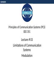 Lecture 03- Limitation of Communication Systems, Modulation.pptx