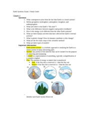 Earth Systems Study Guide Exam 1