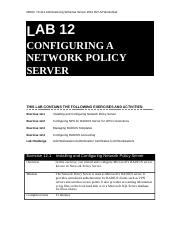 Lab Worksheet Lesson 12 Configuring A Nectwork Policy Server