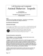 Animal Behavior Isopods
