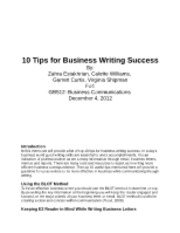 10 Tips for Business Writing Success-Group Paper