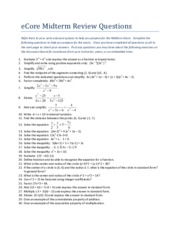 College Algebra Midterm Review Questions