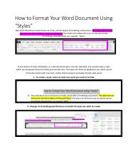 How to Format Your Word Document Using