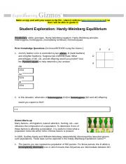 Student Exploration- Hardy-Weinberg Equilibrium (ANSWER ...