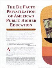 Katharine C Lyall-The Defacto Privatization of american public higher education-january 2006.pdf