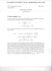 STANFORD UNIVERSITY - EE 264 - HOMEWORK 4 SOLUTION