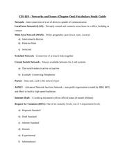 CIS 419 - Networks and Issues (Chapter 1) Vocabulary Study Guide