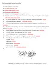 Printables Cell Structure And Function Worksheet Answers cell structure and function answer key vacuole 10 which part is the