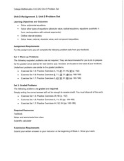Unit 3 Assignment 2 Unit 3 Problem Set